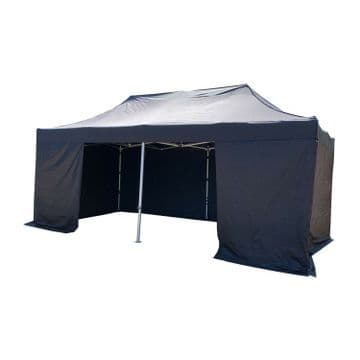 40mm BLUE 3m x 6m GAZEBO + ROOF + ALL SIDES + CARRY BAG show tent marquee